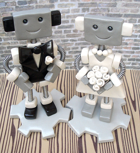 Robot Wedding Cake Topper | Brown Suit White Dress by HerArtSheLoves