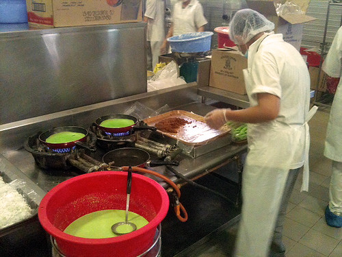 Kueh dadar is also made by hand