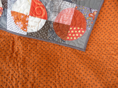 Flannel backing and a peek at the quilting