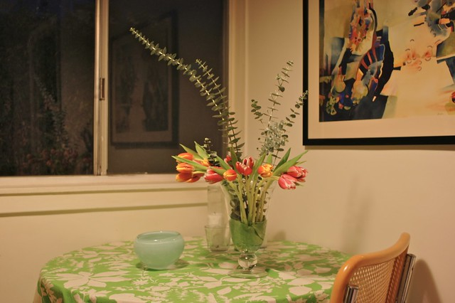 Tulips in breakfast nook