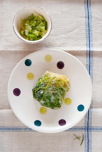 Involtini di verza con riso e verdure