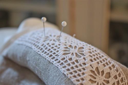 Linen & Lace pincushion