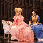 Lydia Languish (Cheryl Lynn Bowers) and Julia Melville (Mia Barron) share secrets of their love lives in the Huntington Theatre Company's production of