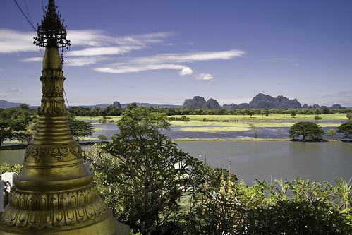 pagoda burma stupa karen myanmar paya paan kayin birmania estupa thanlwin hpaan zwegabin kyaikkalat salouén kyautkalatt