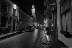 Buren GLD, main street after the rain, Black and white