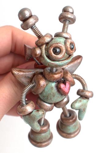 Rustic Robot Cupid Brooch by HerArtSheLoves