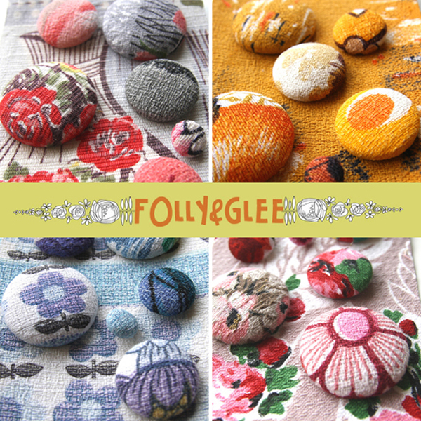 Folly & Glee, handmade barkcloth buttons | Emma Lamb
