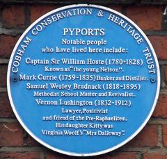 Photo of William Hoste, Mark Currie, Samuel Wesley Bradnack, and Vernon Lushington blue plaque