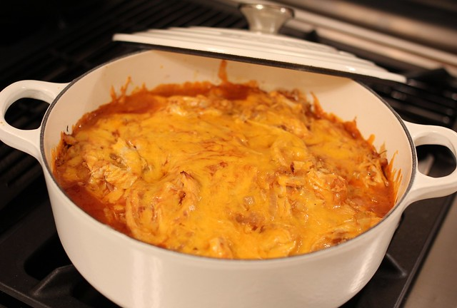 Layered Chicken Three-Cheese Enchilada Bake | I forced mysel ...