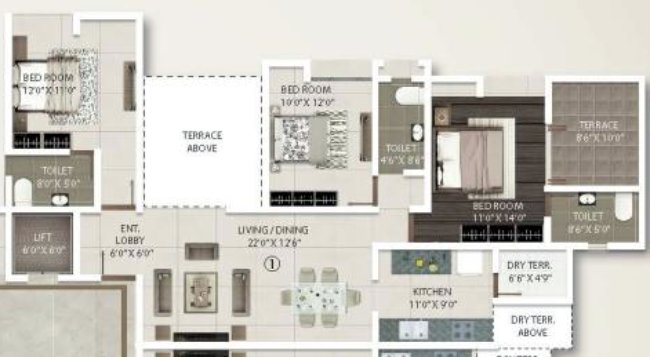 3 BHK Flat - 1025 sq.ft. Carpet + Terrace - A Buildings - Even Floors - Gini Viviana, Balewadi, Pune 411 045