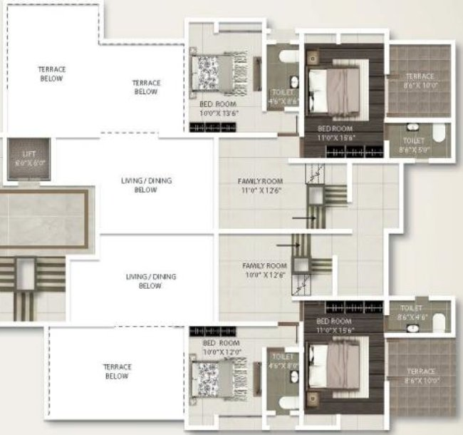 3 BHK Duplex - 1) 1440 Carpet + Terrace 2) 1330 sq.ft. Carpet + Terrace - A Buiding - 9th & 10th Floors - Gini Viviana, Balewadi, Pune 411 045