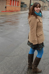 Brown and blue outfit: hand-knit scarf by me, floral dress, blue tights, brown leather boots, camel pea coat