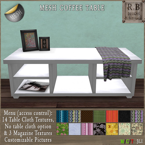 NEW ON SALE ! *RnB* Mesh Dakota Coffee Table White - 14 Table Cloths (c)