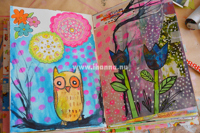 Art Journal Spread: Owl and blue tulips