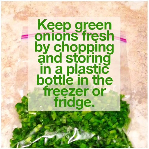 Keeping #green #onions #fresh by #chopping and #storing in a #plastic #bottle in the #freezer or #fridge.