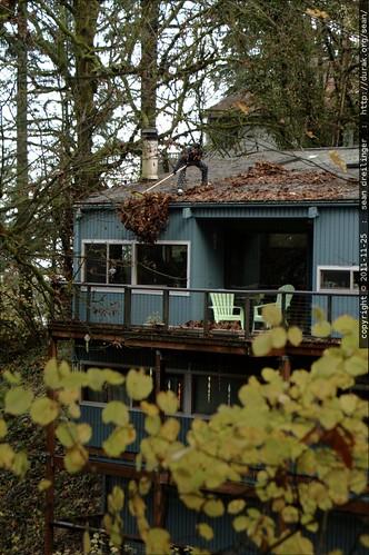 rooftop rachel, sweeping leaves    MG 2730
