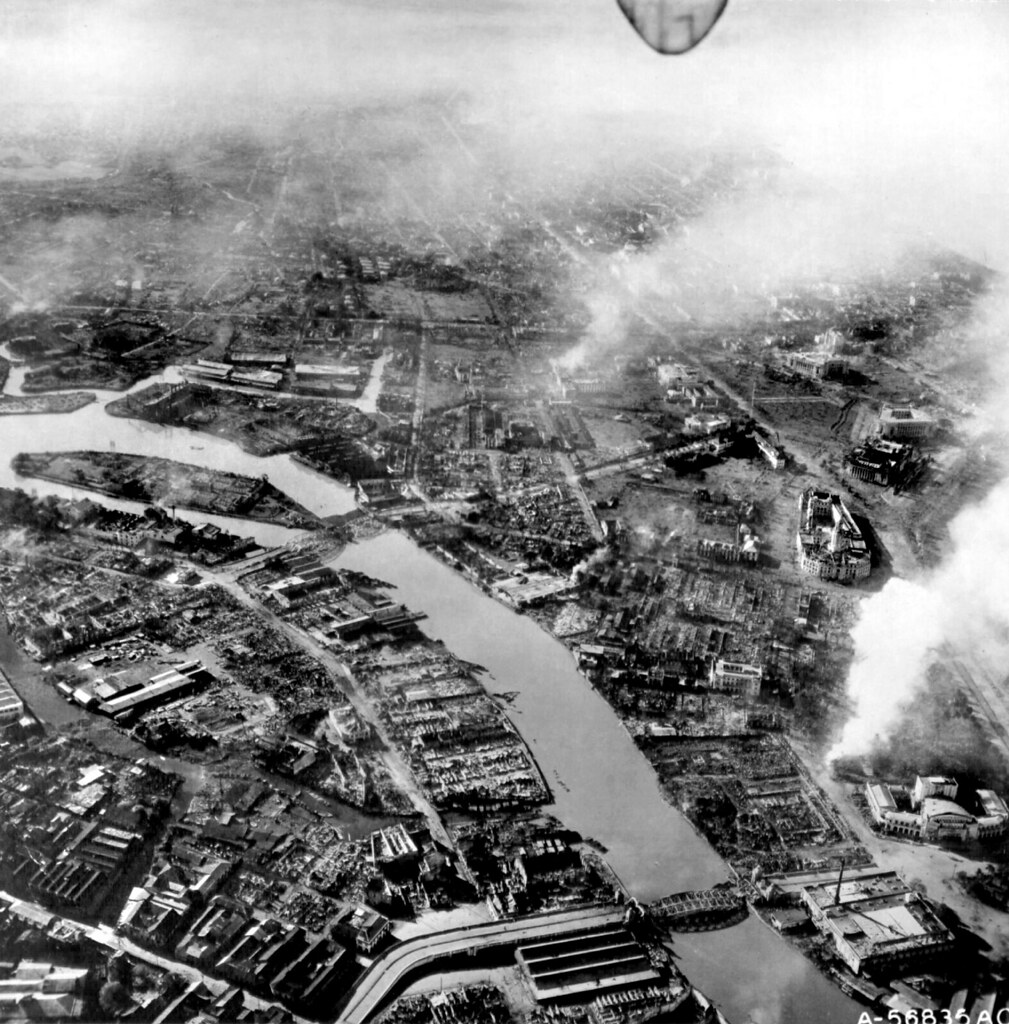 Manila war damage February 15,1945, Pasig River looking south