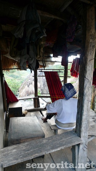 The only living outstanding weaver in Batad at work