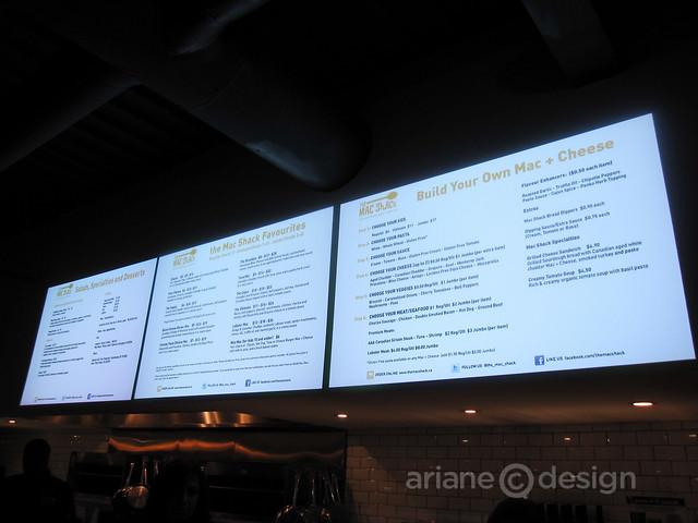 The Mac Shack menu