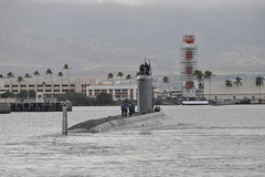 PEARL HARBOR (Dec. 1, 2011) Virginia-class submarine USS North Carolina (SSN 777) departs Joint Base Pearl Harbor-Hickam for its maiden Western Pacific deployment. (U.S. Navy photo by Mass Communication Specialist 2nd Class Ronald Gutridge)  For more photos, visit COMSUBPAC on Flickr.