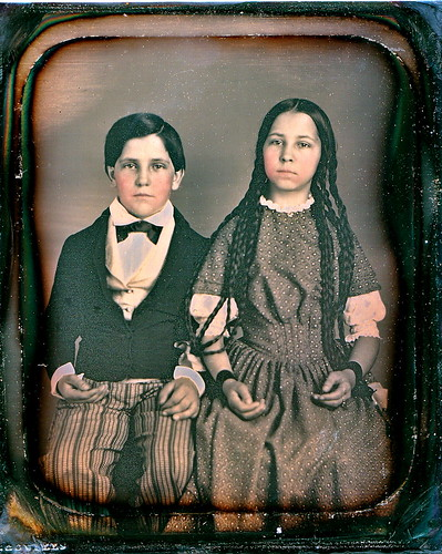 Beautiful Siblings, Scovill 1/6th-Plate Daguerreotype, Circa 1848 by lisby1