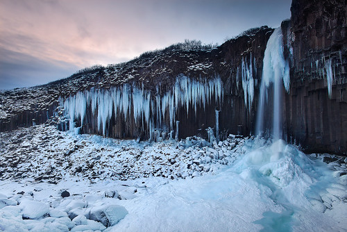 Iced Up - Frozen Svartifoss at Skaftafell, Iceland