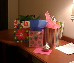 Presents in a hotel room