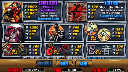 free Elektra slot payout