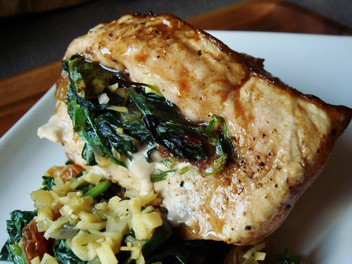 Pan Seared Spinach-Stuffed Pork Chop