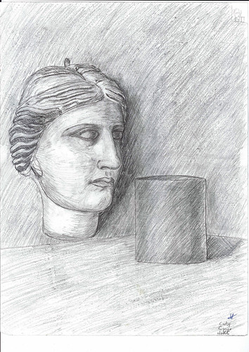 Statue head and cylinder