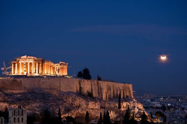the lunar eclipse over athens