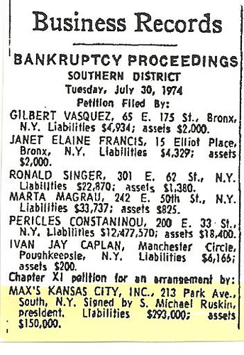 07-31-74 NYT Max's Kansas City Bankruptcy Filing Notice