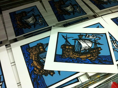 Sailing Ship Screen Print by billy craven