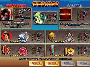 free Conan the Barbarian slot payout