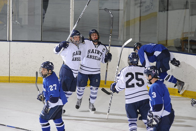 Men's hockey celebrates a goal at Sullivan Arena.