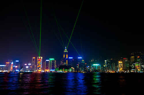 Hong Kong skyline light show I