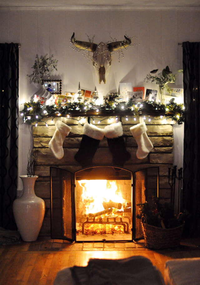 christmas mantel-fireplace-stockings-holiday cards