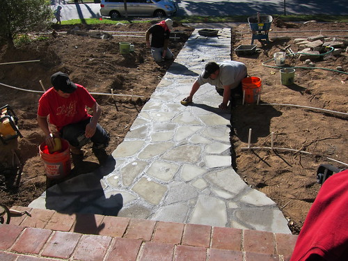 Grout - final step of the new walkway