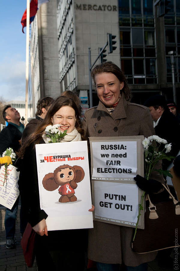 BRUSSELS - December 24, 2011: Political meeting to support fair election in Russia