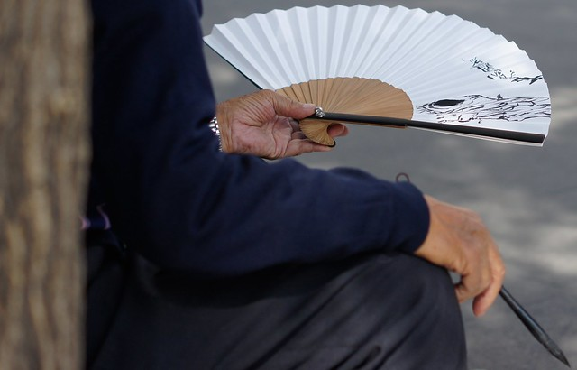 A Korean man with a traditional fan in Insadong - Seoul, Korean - photo by flickr user, NomadicSamuel