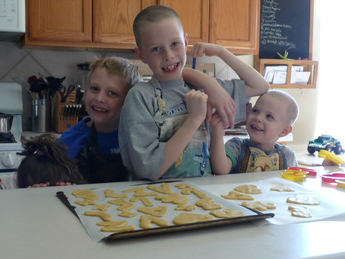 Daisy, Sparky, Max and Billy, cutting out sugar cookies