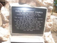 A Plaque tells the story of the former Dublin Methodist Church