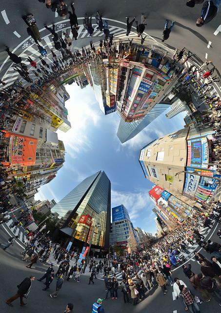 Akihabara car free zone, Nikon D7000, Sigma 8mm F3.5 EX Circular Fisheye