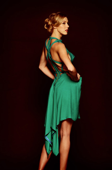 V2-Couture Studio Shoot, Green Dress by Catherine Calvert. Photography by Kent Johnson