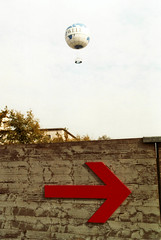 The direction of the balloons