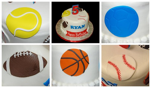 5th birthday sports themed cake collage