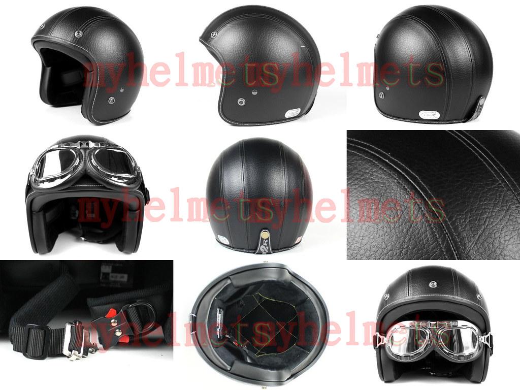 casque jet r tro vintage noir cuir moto scoot scooter 300. Black Bedroom Furniture Sets. Home Design Ideas