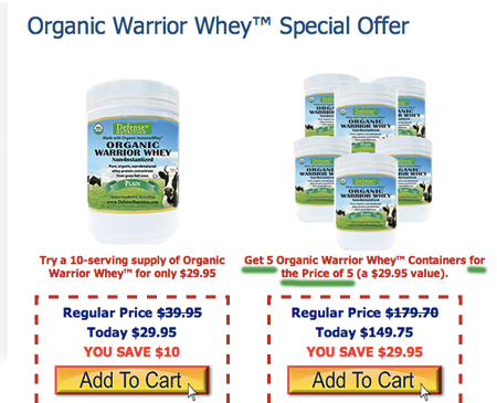 Defense Nutrition's deal on organic whey: Get 5 for the price of 5.