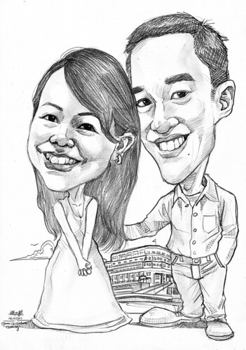 Couple caricatures at Fullerton Hotel