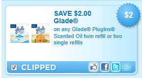 Glade Plugins Scented Oil Twin Refill Or Two Single Refills Coupon